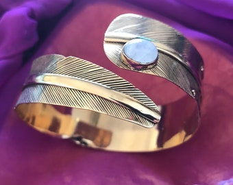 Moonstone feather cuff bracelet
