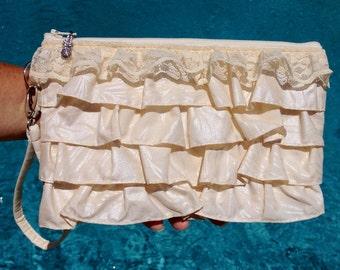 Clutch, Wedding Clutch, Bridal Wristlet, Tropical Bag, Hawaiian Purse in Ruffles & Lace Tropical Leaf Print - Made in Maui