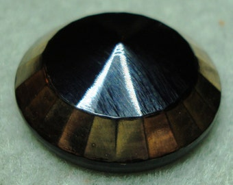 """Czech Glass Button 12""""= 27mm handpainted - faceted dome, black, gold (B27213)"""