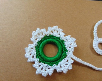 Large white and green snowflake bookmark