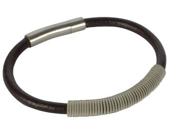 Wound Up - Leather and Guitar String Bracelet - Dark Brown