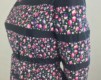 Vintage Black Horizontal Stripes & Floral Print Sheath Dress with Sash/Size Medium