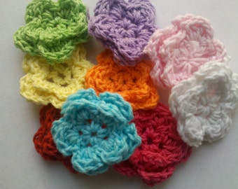 Mother's Day flowers 40 Handmade Mini Crochet Flower Appliques Sewing Bow