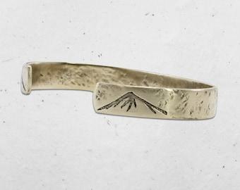 Mountain Peaks on Tips Cuff Bracelets. Men's bracelet, Women's bracelet, Silver over brass, Antique brass