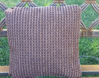 "12""x12"" Brown Chenille Pillow with pleated corners"