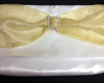 The Sparkle: Clutch Purse (White with Gold)