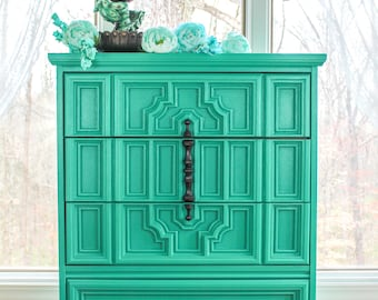 SOLD Handpainted Highboy Dresser Chest Of Drawers Hollywood Regency  Turquoise Green Black Harlequin Stenciled Gothic Painted