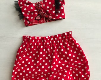 Minnie Baby Girl Outfit/ Baby Girl Summer Outfit/ Baby Girl Bloomers and Headband/ Toddler Summer Outfit/ Newborn Summer Outfit/ Polka Dot