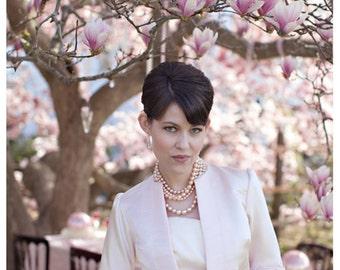 Sample SALE Blush Pink Silk Duchess Satin Bolero Jacket Cover-up