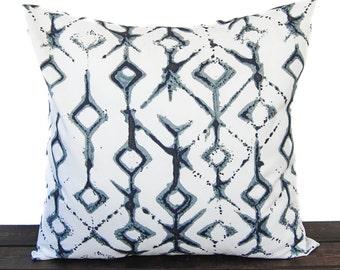 Throw pillow cover Vintage Indigo navy light blue gray white cushion cover Tribal traditional contemporary modern home decor