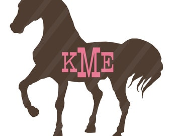 Horse with monogram Digital Download for iron-ons, heat transfer, T-Shirts, Scrapbooking, Cards, Tags, Invitations, DIY, YOU PRINT