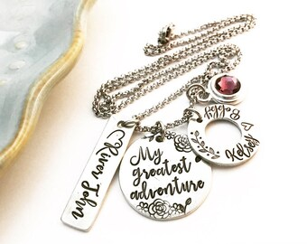 My greatest adventure ~ Pewter ~ Hand Stamped Family Cluster Necklace ~ Kid's Name Jewelry ~ Anniversary Gift ~ New Mom Mother Mommy