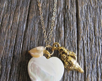 Mother of Pearl Heart charm necklace