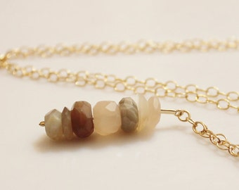 Moonstone Pendant Necklace, Gold Filled Moonstone Bead Necklace, Moonstone Jewelry