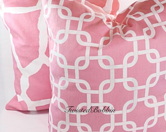 Pillow cover .Baby Pink and white pillow cover.18x18.set of two Designer pillow. pink cushion cover.giraffe . chainlink.Pink cushion cover