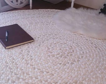 cream, natural, sand and white braided nursery rug, made to order, created from new and recycled t shirts