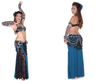 Tribal Fusion bellydance Costume 3piece Set (Bra/Belt/Skirt)-Blue beads