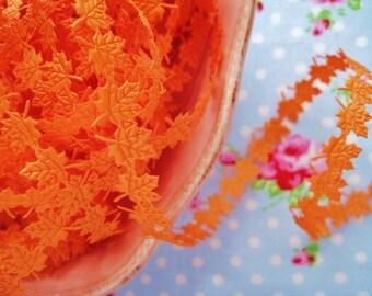 Autumn Orange Maple Leaves Satin Cut Out Ribbon/Trim - 1/2 inch - 1 Yard