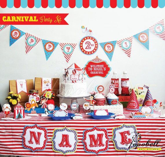 Circus Party Kit. Complete Set Carnival Party Printables. DIY