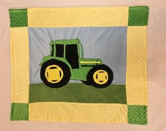 Tractor Minky Baby Blanket