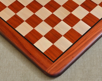 """Wooden Chess Board Blood Red Bud Rose Wood 18"""" - 45 mm from India. SKU: D0118"""