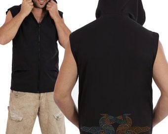 SALE 25% OFF Mens Hooded Vest - Steampunk - Psychedelic - Fractal Hood Vest - Screen Printed - Black Vest - S M L Xl
