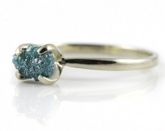14K White Solid Gold Ring - Rare Blue Raw Diamond Conflict Free - Uncut, Unfinished Rough Diamond - Engagement Ring, Solitaire Ring