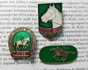 Horse badge Enamel badge Soviet badges Green badges Animal badges Horse pin Horse lover gift Rare Soviet badge