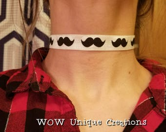 Mustache choker, mustache necklace, bachelorette party favors, bridal shower, unique choker, humorous gifts, gifts for teens
