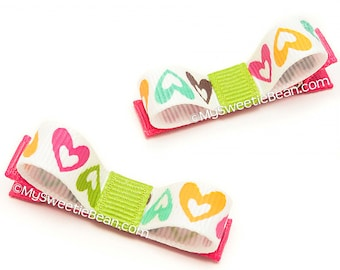 Open Heart Hair Clips, Heart Clippies, Heart Tuxedo Bows, Hot Pink and Kiwi Green, No Slip Hair Clips for Baby, Toddler Girls, Heart Clippys