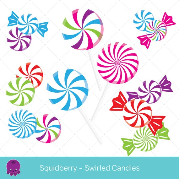 Swirled Candies Clip Art Peppermint Candy Scrapbook Graphics