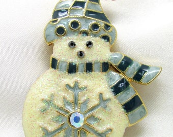 Vintage Glitter Christmas Snowman Brooch