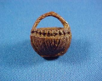 Antique Miniature Scrimshaw Carved Nut Basket , Sailor Art, Folk Art
