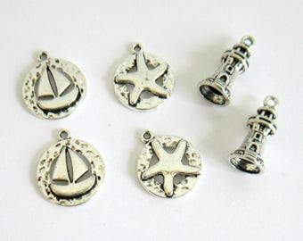6 charms silver starfish, set of 6 silver metal charms theme sea, boat charm, starfish, Lighthouse, see charms charm charm