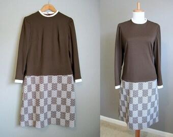 1960s Dress Vintage Mod Shift Brown White Large