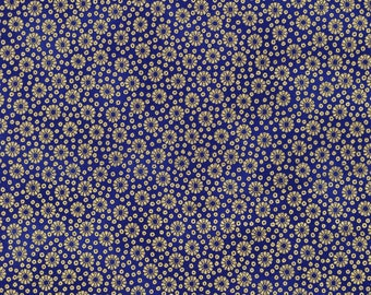 Tiny Navy Blue Floral, Metallic, Imperial Collection 13, Robert Kaufman (By YARD)~