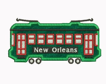 New Orleans Streetcar Applique Machine Embroidery Design Download