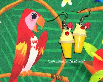 Disneyland Enchanted Tiki Room Dole Whip Float Polymer Clay Post or Dangle Earrings