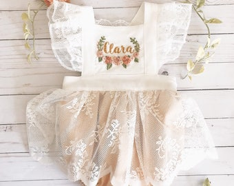 Floral hand embroidered skirted romper