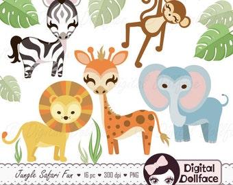 Jungle Safari Clipart, Jungle Animal Clip Art, Scrapbook Digital Art Download