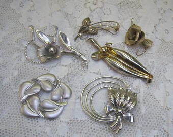 SIX Vintage Sterling Silver Flower Brooches...Signed BOND BOYD...Sterling Matte Floral Pin...Bridal...Bouquet Brooches