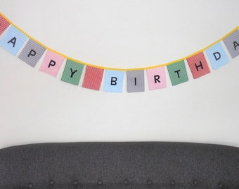 Happy Birthday Bunting, Happy Birthday Banner, Fabric Pennant Flags,Photo Prop, Garland, Happy Birthday Sign
