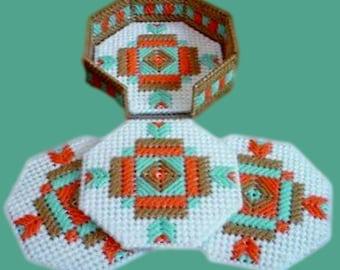 SOUTHWESTERN BEAUTY COASTER Set - Includes 4 Coasters With Holder - Southwest Decor - Native American - Navajo - Handmade