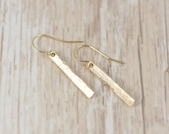 Simple Gold Earrings - Gold Earrings - Small Bar Earrings - Minimalist Earrings - Long Bar Earrings - Everyday Earrings - Dainty Gold