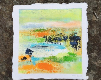 Abstract  landscape, small painting, original art, handmade paper, Acrylic painting