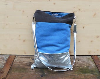 Bag / Backpack silver and blue