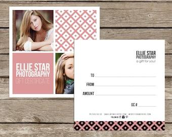 Ellie v2 Modern double sided gift certificate design - Instant download