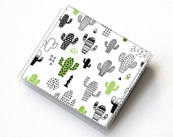 Vinyl Moo Square Card Holder - Cactus / vinyl, snap, mini card case, moo case, small, square, cacti, succulents, green, polka dot