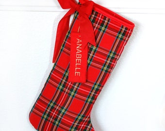 Plaid Christmas Stocking - Christmas Stocking Red / Tartan Christmas Stockings - Single stocking - FREE Shipping !