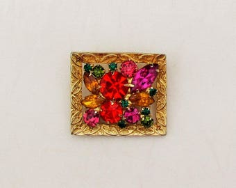 Vintage colorful rhinestone pin, 1960's small rectangular brooch with vivid colors